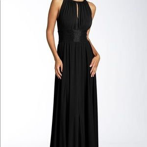 Beautiful long black formal dress w beaded waist